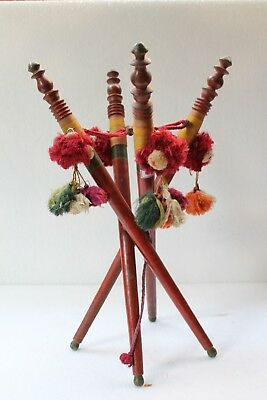 1890's Antique Old Rose Wood Hand Carved Beautiful Hand Fan Stick Stand NH4183
