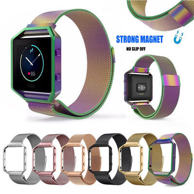 Replacement Milanese Silicone Wrist Band Watch Strap + Frame For Fitbit Blaze UK