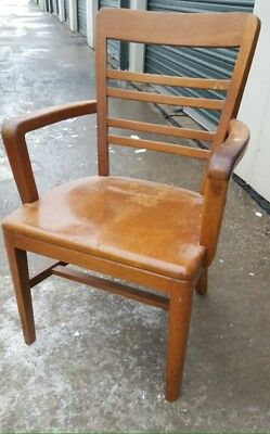 Antique Vintage Solid Oak B.L. MARBLE CHAIR CO. Chair Banker Lawyer Jury 1953