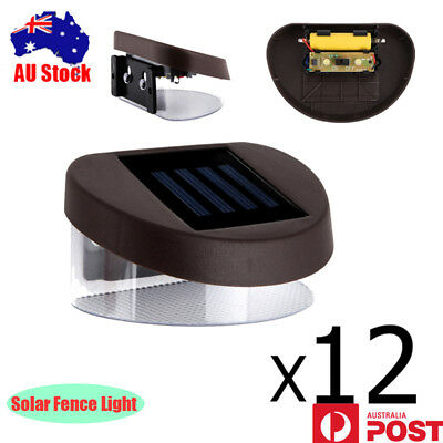 NEW 12X LED Solar Gutter Fence Lights Outdoor Garden Yard Wall Pathway Lamp