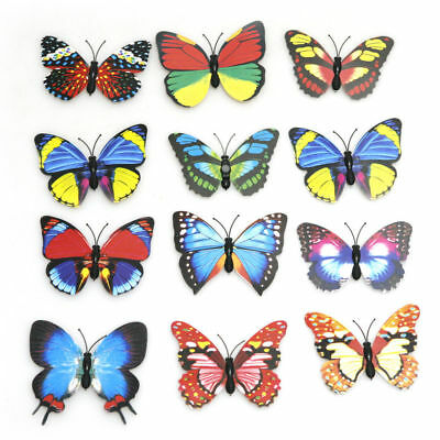 12Pcs 3D Paper Butterfly Wall Sticker Decals Super for Bed Room