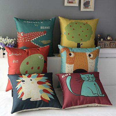 Chick Dog Pillow Case Cat Cartoon Animal Party Throw Back Cushion Cover Decor