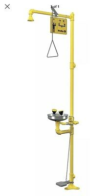Bradley Shower with Eye/Face Wash, Floor Mount, Stainless Steel, mechanic shop