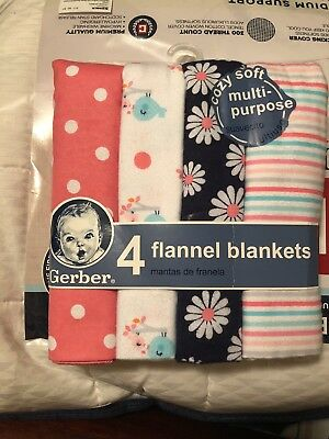 New GERBER Baby Lightweight Flannel Swaddle Blankets. Set of 4. Pink Shower Gift