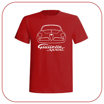 T-Shirt Alfa Romeo Giulietta Sprint Italian Car Old Motor Fashion Red