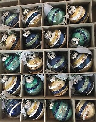 20 Mini Glass Xmas Radko Ornaments Navy Blue Silver White Gold Balls Shiny Brite