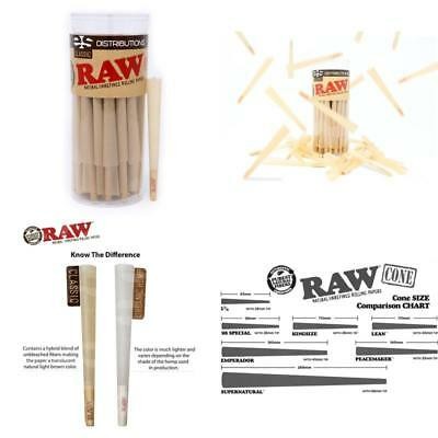 50 Pack Raw Classic King Size Pure Hemp Pre-Rolled Cones W/ Filter Tobacco Roll