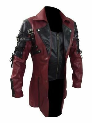 Mens Goth Matrix Trench Coat Steampunk Gothic Faux Leather Coat