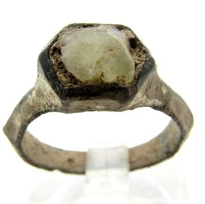 Late/post Medieval Enamelled Ring With White Stone - Rare - Wearable - Q746