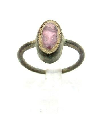 Late Medieval Bronze Ring W/ Purple Stone - Rare Historic Artifact Wearable Q747