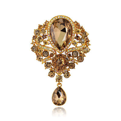 Stunning Vintage Inspired Champagne Gold Crystal Statement Brooch