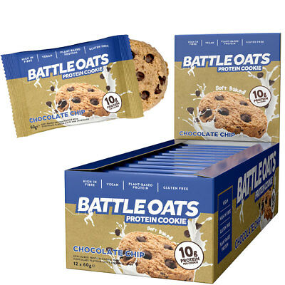 Battle Oats Vegan High Protein Cookies,Pack of 12 x 60g Biscuits ALL NEW FLAVORS