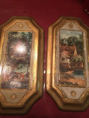 Pair Of Vintage Picture Florentine Gold Gilt Wood Made in Italy