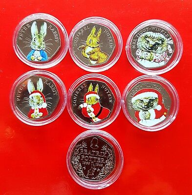 Beatrix Potter 50p Coins Uncirculated Coloured Set inc peter rabbit