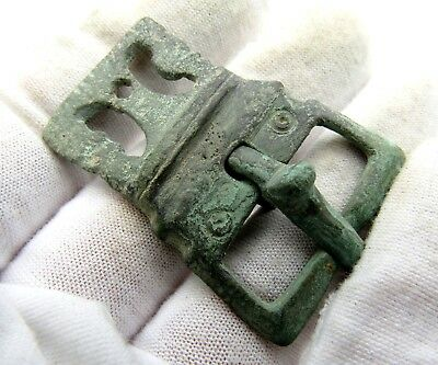 Roman Bronze Belt Buckle W/ Decortation - Ancient Artifact Very Rare - Q771