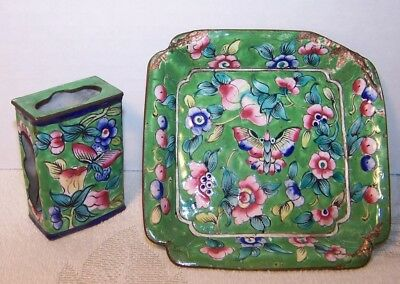 ANTIQUE C19th ENAMEL ON COPPER BUTTERFLY FLOWERS MATCHBOX HOLDER RECTANGLE TRAY