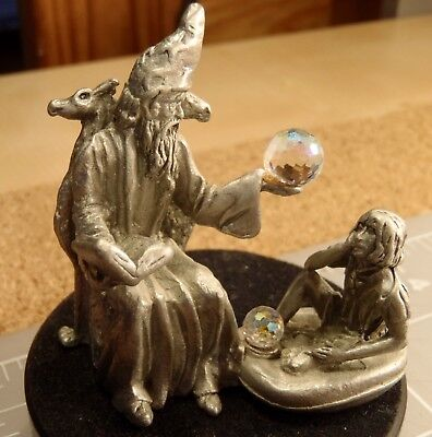 Gallo 1986 Pewter Wizard & Apprentice with Crystal Figure