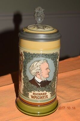 Antique Etched Mettlach German Stein, Richard Wagner, Opera, Signed, Dated 1911