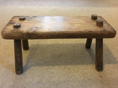 Vintage Solid Pine Wood Small Foot Stool Milking Rustic vintage shabby chic