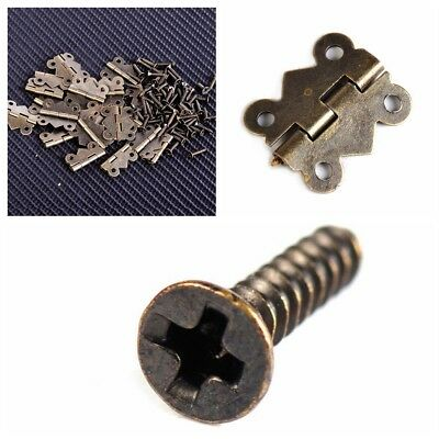 20/40 Jewelry Box Hinge Antique Brass Butterfly Small Hinge 20x17mm with Screws