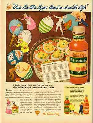"1944 vintage ad, SNIDER""S CHILI SAUCE, Easter Eggs, recipe stuffed eggs-1012612"