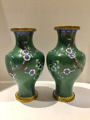 "VTG Pair Large Matching Chinese Cloisonne Brass Vases 9.5"" green Yellow Crimson"