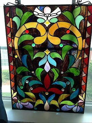 Vintage Stained glass 25X18  perfect  Restoration historic homes/transom/window