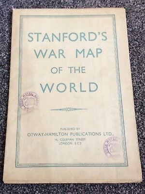 Vintage Stanford's Folding War Map Of The World