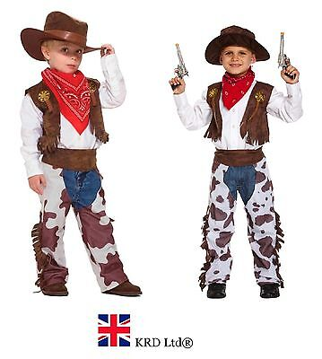 Kids Cowboy Costume Boys Wild West Book Week Day Childs Fancy Dress Outfit