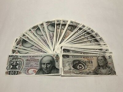 Mexico Notes Lot Of (100) $5 & 10 Pesos Mexican Banknotes AU- UNC SERIE 1971-74
