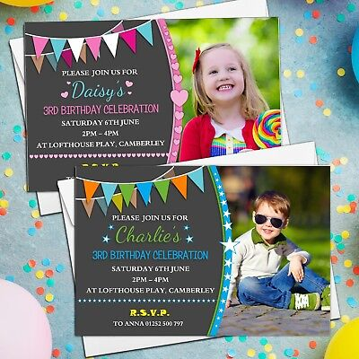 10 Personalised Girls Boys Birthday Party Invitations Invites ANY AGE N211
