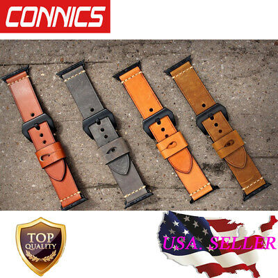 Genuine Leather iWatch Band Wrist Strap For Apple Watch Series 1 2 3 38mm 42mm