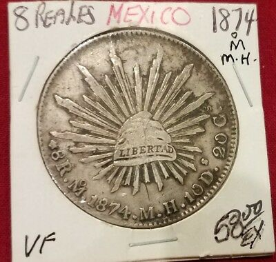 """Mexico 8 Reales 1874 Mo MH Silver, WORLD CURRENCY OF 1800'S """"Piece of Eight"""""""