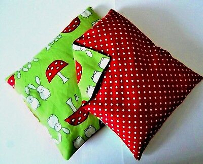 Childrens Small Handmade Microwave Heat/Chill Flax Seed Pad/Bag Bunny Rabbits