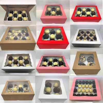 PREMIUM Windowed Mini Cupcake Boxes for 4, 6, 9, 12 & 24 Cup Cakes With Inserts