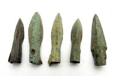 Lot Of 5 Ancient Bronze Arrow Heads - Ancient Historical Artifacts - Q810