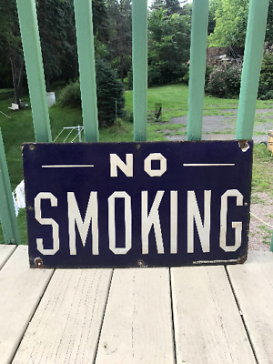 "Vintage Antique Porcelain No Smoking Sign 22"" x 12.5"" Blue White Gas Oil"
