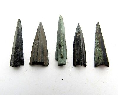 Lot Of 5 Ancient Bronze Arrow Heads - Ancient Historical Artifacts - Q811