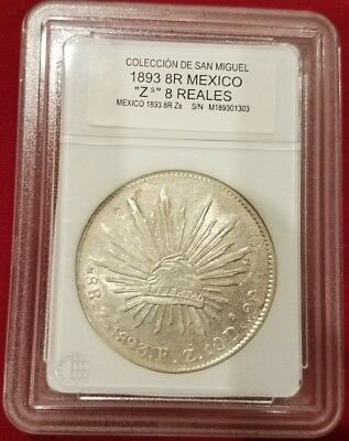 """Mexico 8 Reales 1893 Zs Silver, WORLD CURRENCY OF 1800'S - """"Piece of Eight"""""""