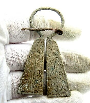 Viking Bronze Penannular Omega Brooch W/ Runic  - Ancient Artifact Lovely - Q817
