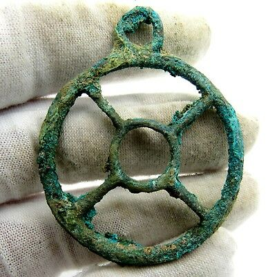 Roman Bronze Wheel Of Fortune Amulet - Superb Ancient Wearable Artifact - Q823