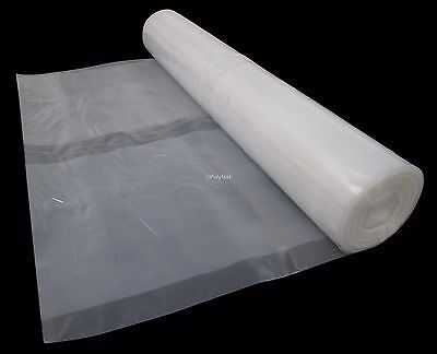 4 Metre Wide Clear Polythene Plastic Sheeting Heavy Duty 250 Micron / 1000 Gauge