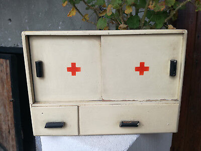 Vintage Old Wooden Hand Made Painted Medicine Apothecary Wall Cabined Chest Box