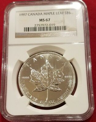 1997 Canada Maple Leaf Silver 5 Dollar Coins .9999 Pure Silver Ngc Ms67