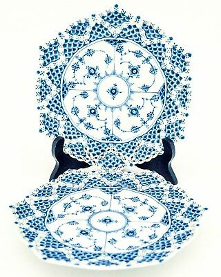 2 Plates #1094 - Blue Fluted - Royal Copenhagen - Full Lace - 2:nd Quality