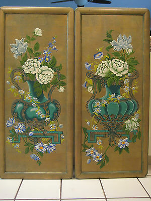 Antique Pair Of Large Art Deco Exceptional 1930's Hand Painted Wood Panels