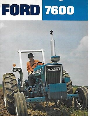 Vintage 1975 Ford 7600 Tractor Sales Dealer Brochure Color Troy Michigan