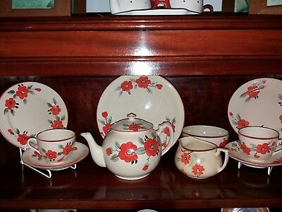 🌺Crown Devon Fielding England vintage Tea forTwo teaset complete. Orange flower
