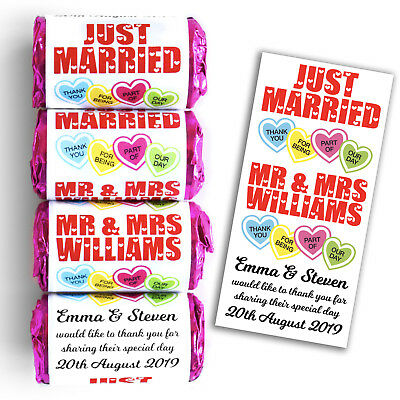 Personalised Mini Love Hearts Wedding Favours Sweets - Just Married Love Hearts