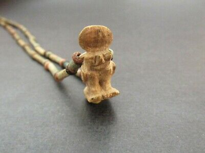 NILE  Ancient Egyptian Horus Amulet Mummy Bead Necklace ca 1000 BC